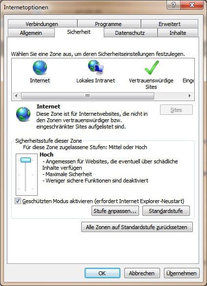 Höchste Sicherheitsstufe im Internet Explorer