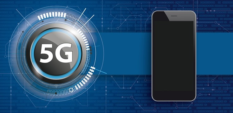 5G Button mit Smartphone