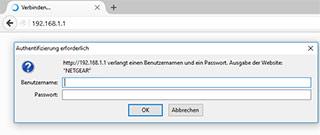Browser Adressleiste und Loginfenster