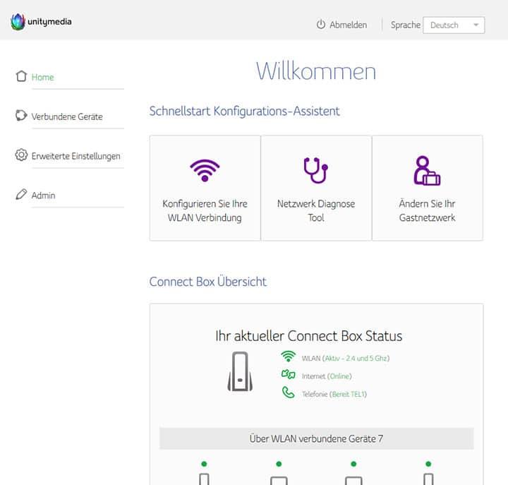 Screenshot ConnectBox Startseite