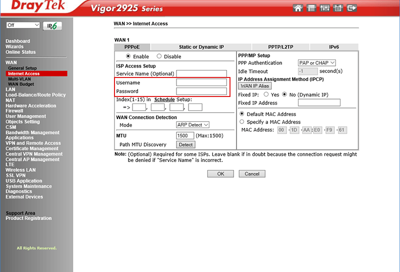 Screenshot des Draytek Routers Vigor 2925
