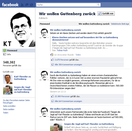 Facebook Fanpage Wir wollen Guttenberg zurück