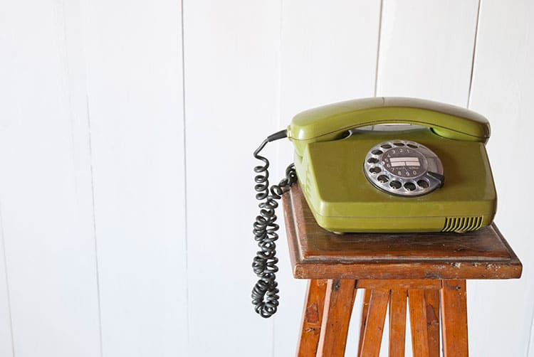 Festnetztelefon in grün