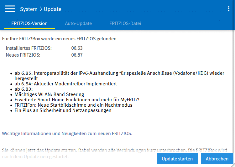 FRITZ!Box Firmware Update