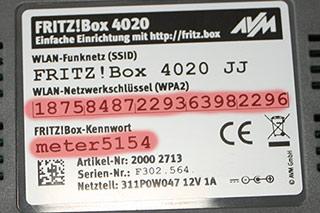 WLAN Zugangsdaten auf der Rückseite einer Fritz!Box
