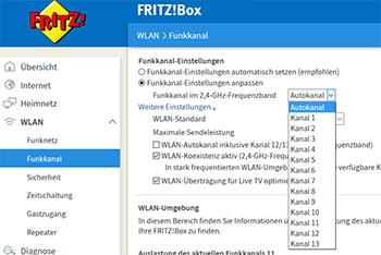 WLAN Kanal bei der FRITZ!Box auswählen