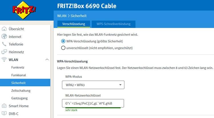 WPA2/WPA3-Verschlüsselung bei der FRITZ!Box