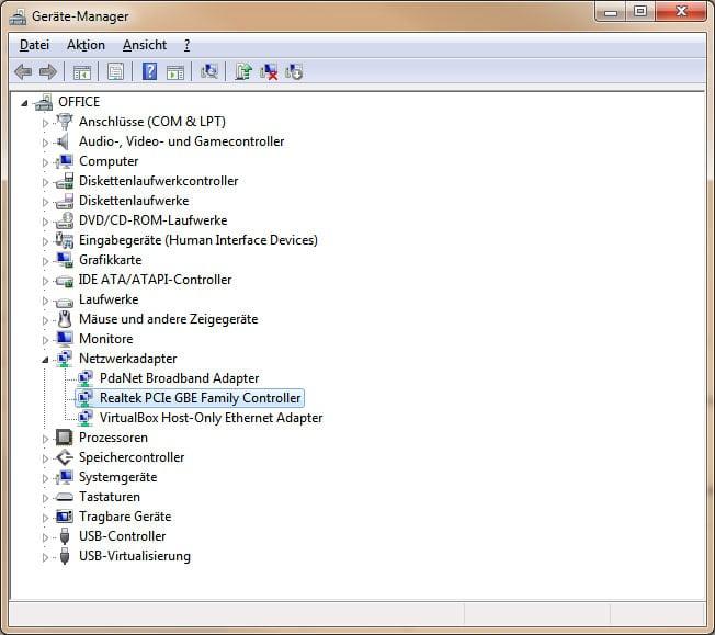 Gerätemanager unter Windows 7 mit diversen Netzwerkadaptern