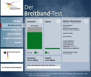Screenshot Netzneutralitätstest auf initiative-netzqualitaet.de
