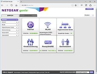 Benutzeroberfläche eines Netgear Routers