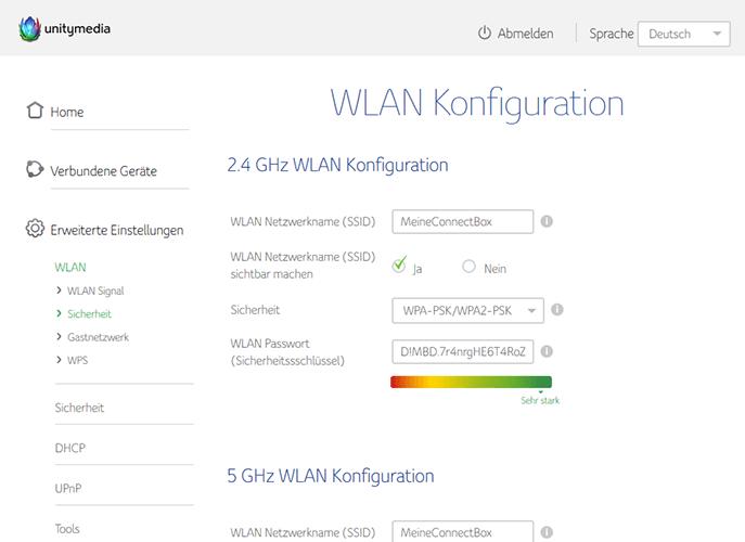WLAN Passwort ändern an der Connect-Box von Unitymedia