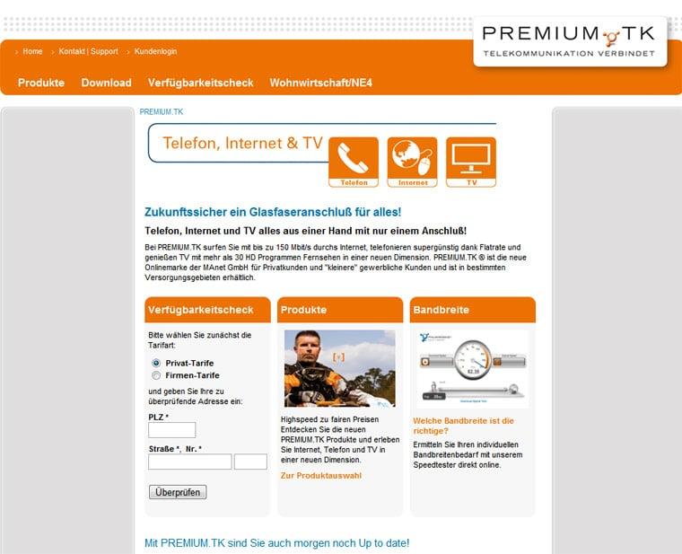 Screenshot der premium.tk-Webseite