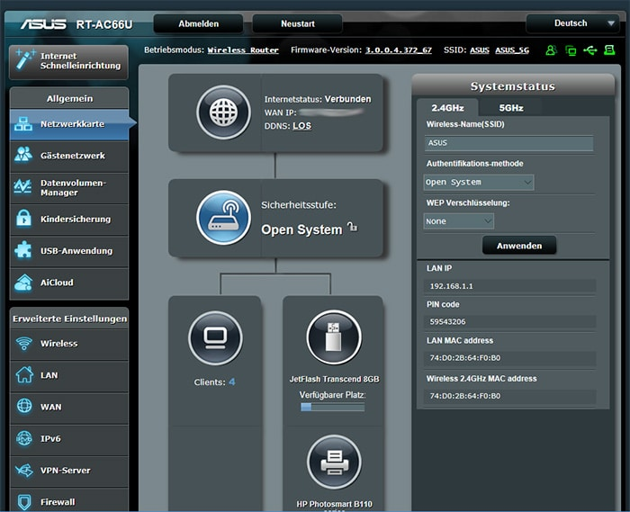 Screenshot des ASUS Routers RT-AC66U