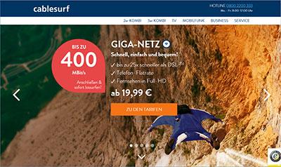 Screenshot der cablesurf-Webseite
