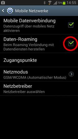 Screenshot der Roaming-Einstellungen auf Android