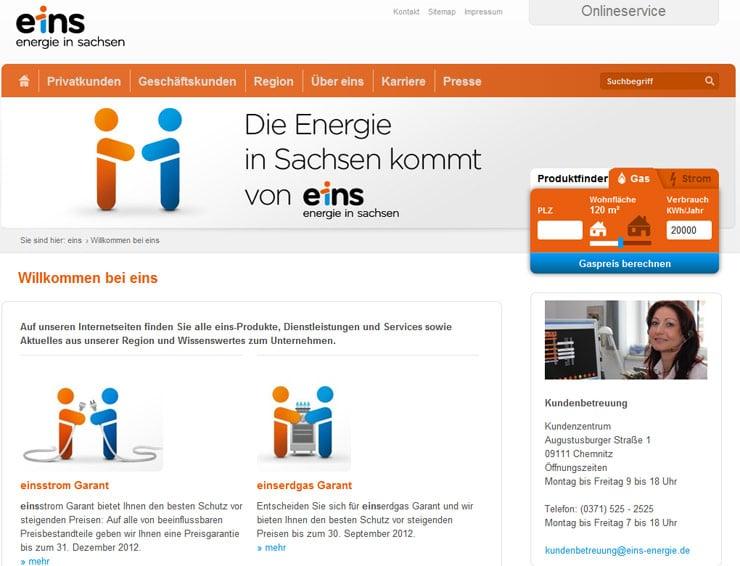 Screenshot von eins energie