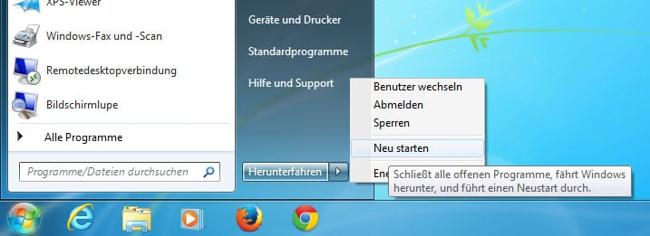 Screenshot des Neustart-Menüs bei Windows 7