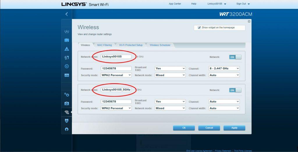 SSID (WLAN Name) bei Linksys-Routern ändern
