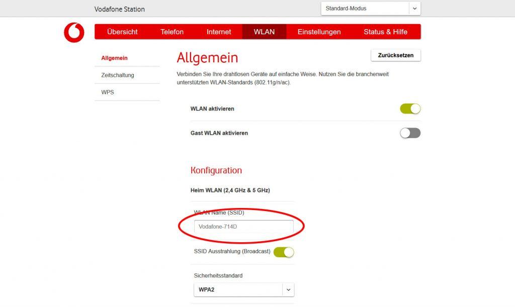 SSID (WLAN Name) bei der Vodafone Station ändern