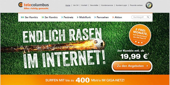 Screenshot TeleColumbus Webseite