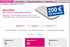Screenshot der Telekom Mobilfunk Webseite