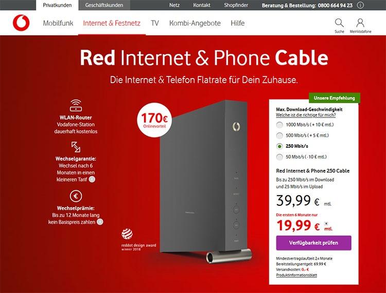 Screenshot von Vodafone.de