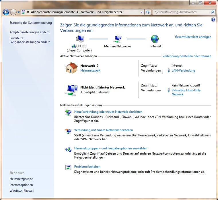 Netzwerkcenter bei Windows 7