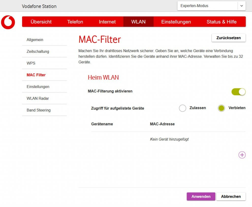 MAC-Filter bei der Vodafone Station