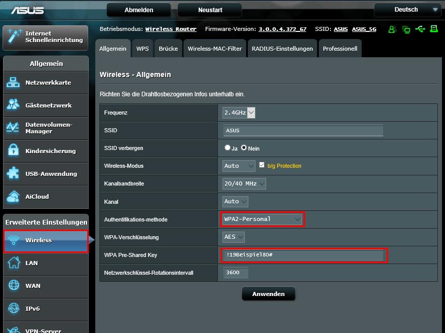 WLAN Passwort ändern bei Asus Routern