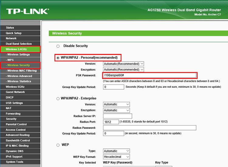 WLAN Passwort ändern bei TP-Link Routern