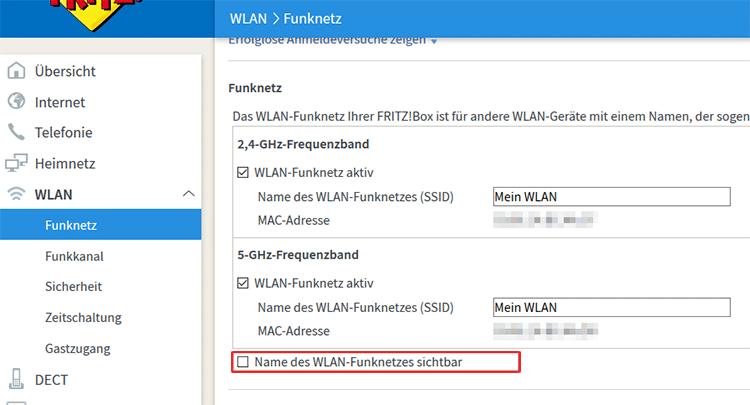 WLAN unsichtbar machen bei FRITZ!Box Routern