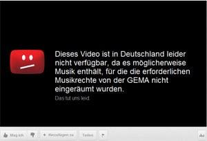 Screenshot eines durch die GEMA gesperrten Musikvideos auf Youtube